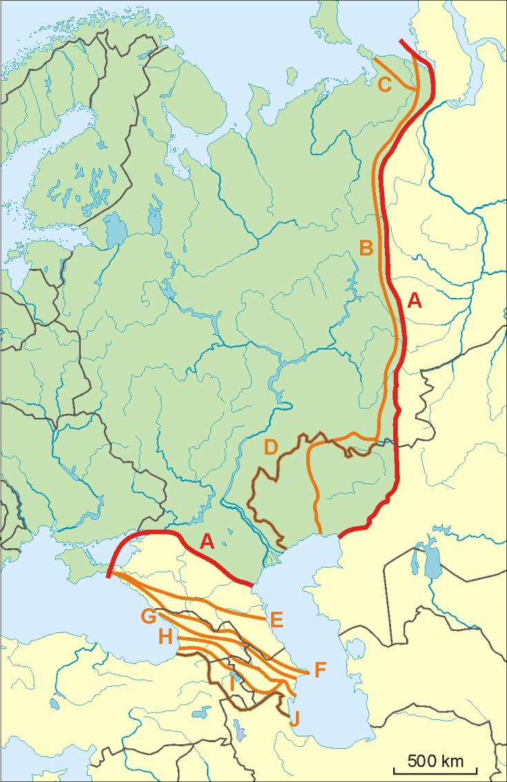 Граница между Европой и Азией на Карте