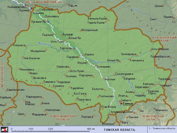 Томск на карте России