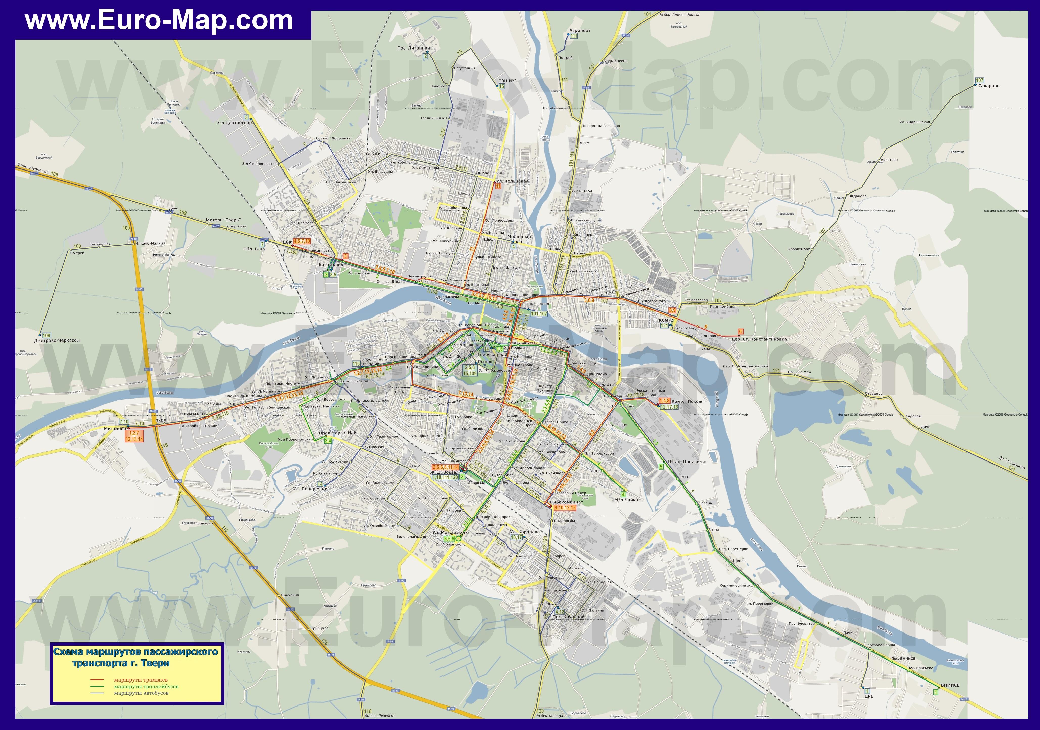 Карта Твери с улицами и маршрутами транспорта
