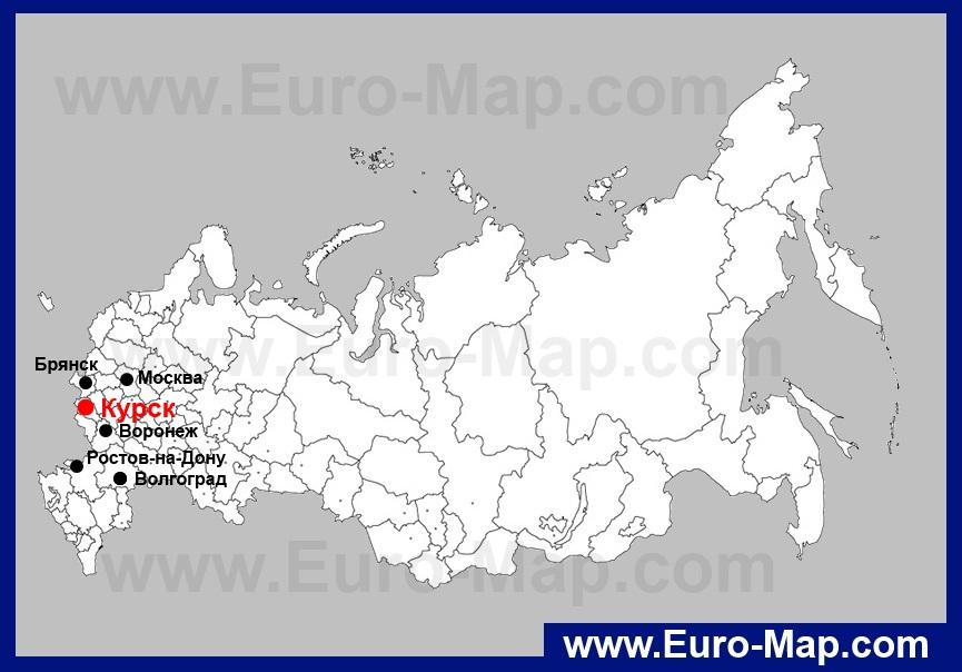 Курск на карте России