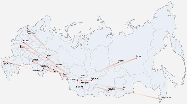 Новосибирск на карте России, авиамаршруты