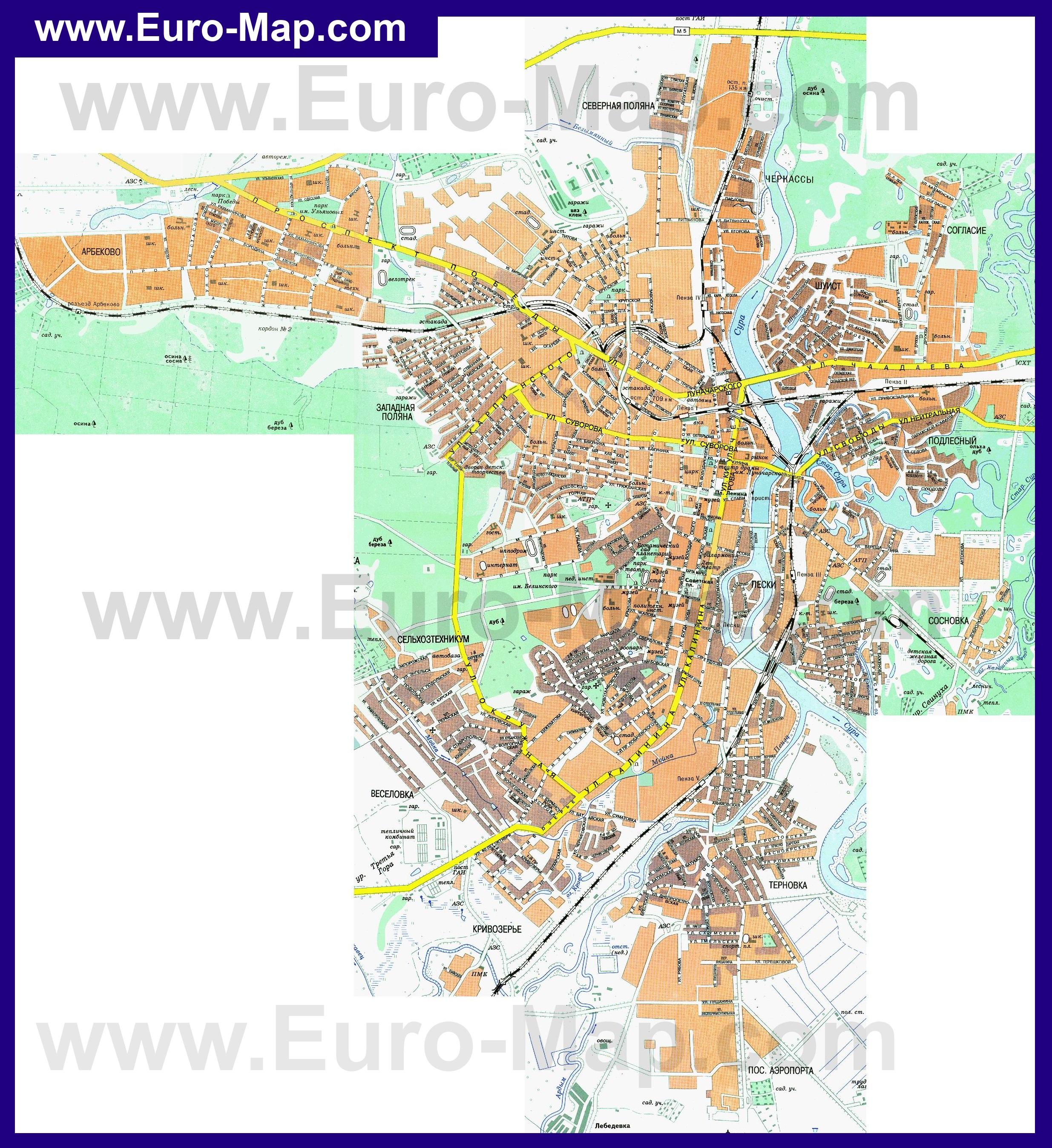 Подробная карта Пензы с улицами
