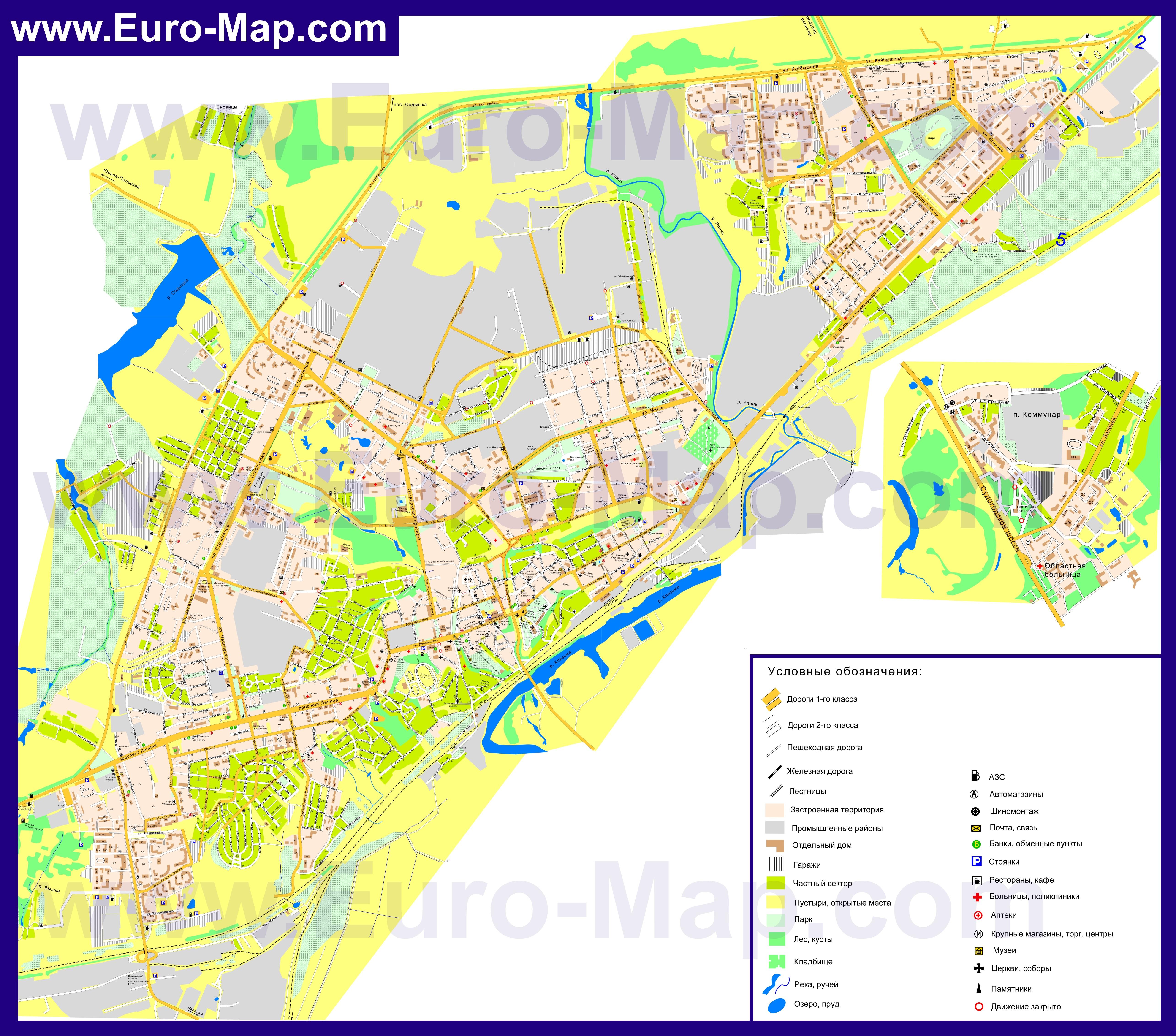 Подробная карта Владимира с улицами