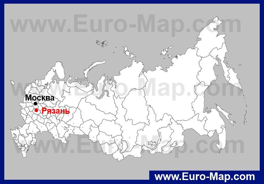 Рязань на карте России