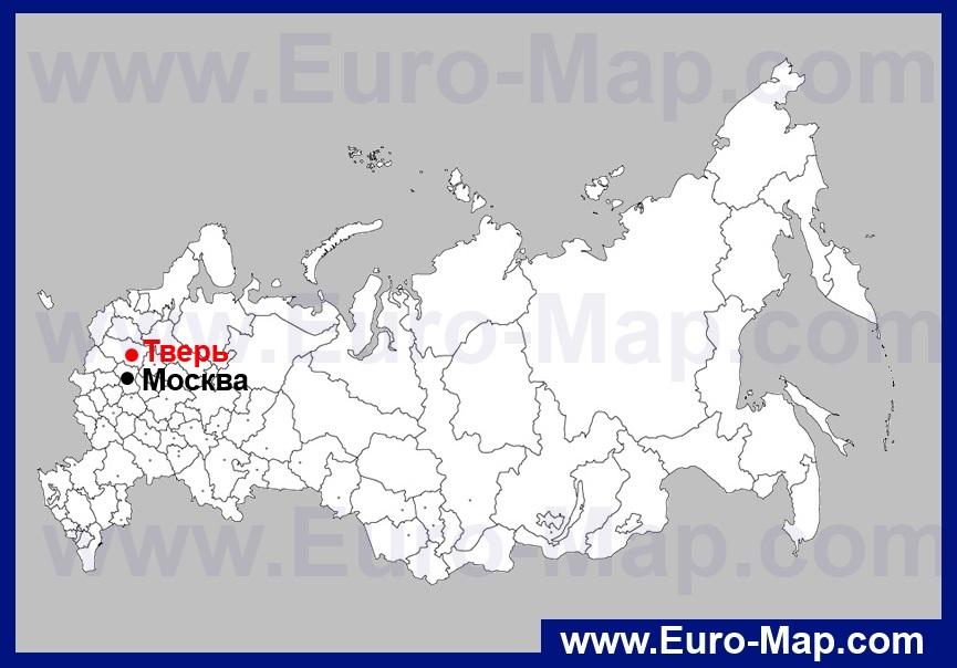 Тверь на карте России