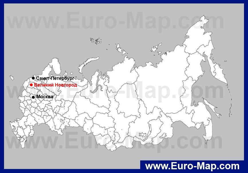 Новгород Великий на карте России