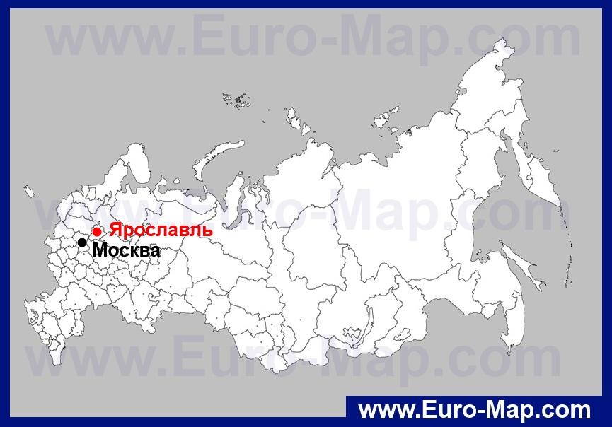 Ярославль на карте России
