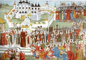 Кострома достопримечательности: Призвание Михаила Романова на царство перед Ипатьевским монастырем