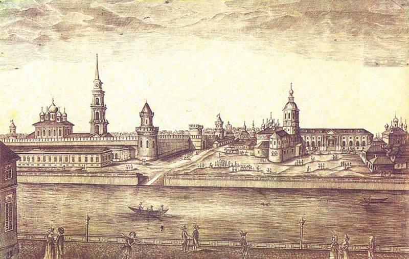 Вид на тульский кремль и центральную часть города Тулы. 1807 год.