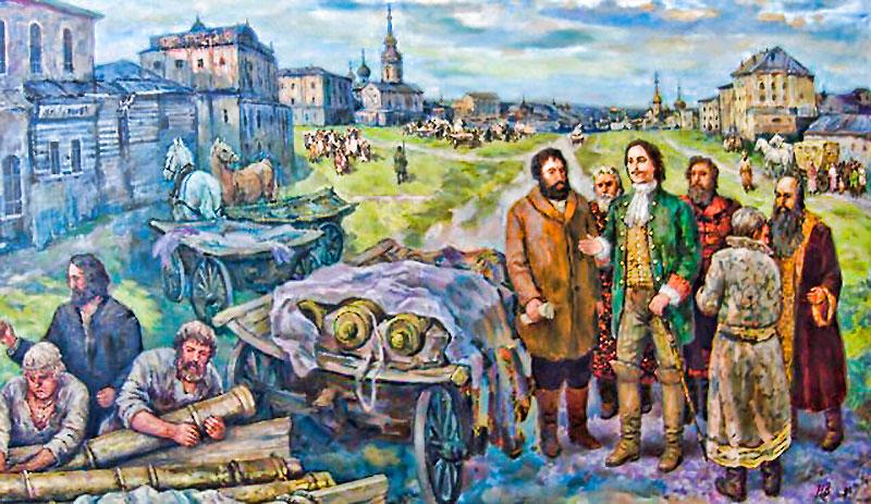 Петр I принимает пушки у Демидова в Туле @художник Наумкин, 2009