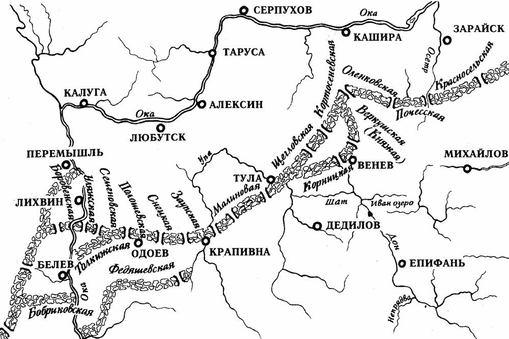 Схема Тульской засечной черты